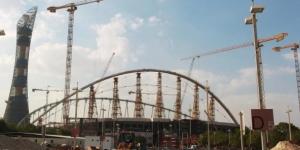 Rénovation du stade Khalifa à Doha en prévision du Mondial de foot 2022, le 13 novembre 2014. © AFP
