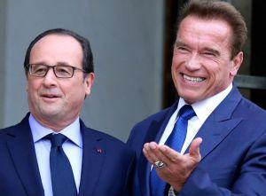 Hollande et Arnold Schwarzenegger