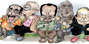 De gauche à droite : Robert Mugabe, Béji Caïd Essebsi, Paul Biya, Manuel Pinto da Costa et Abdelaziz Bouteflika forment le club des dirigeants les plus âgés du continent. © GLEZ