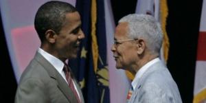 Julian Bond et Barack Obama, alors candidat à l'élection présidentielle, en 2008. © Al Behrman/AP/SIPA