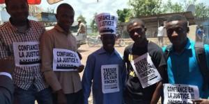 Une manifestation organisée par Lucha à Goma, le 13 avril 2014, en soutien aux quatre activistes arrêtés. © Facebook/Lucha