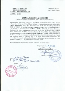 Copie de la convocation de la Cour