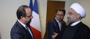 Le président iranien Hassan Rohani et François Hollande.afp.com/Martin Bureau
