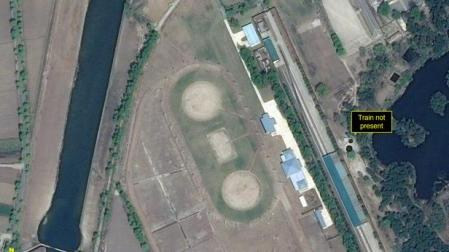 Special train station servicing North Korean leader Kim Jong Un's Wonsan complex is seen in a satellite image